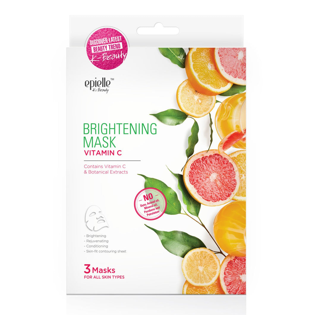 epielle Vitamin C Brightening Facial Mask, 3ct