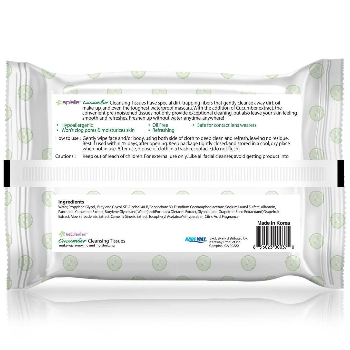 epielle Cucumber Facial Cleansing Tissues, 30ct