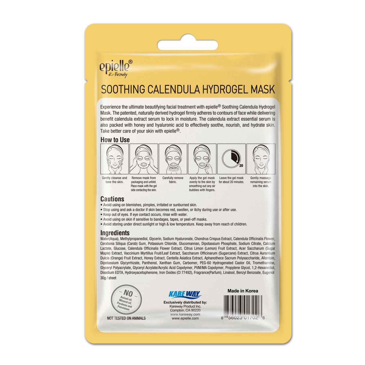 epielle  Soothing Calendula Hydrogel Mask, 1ct