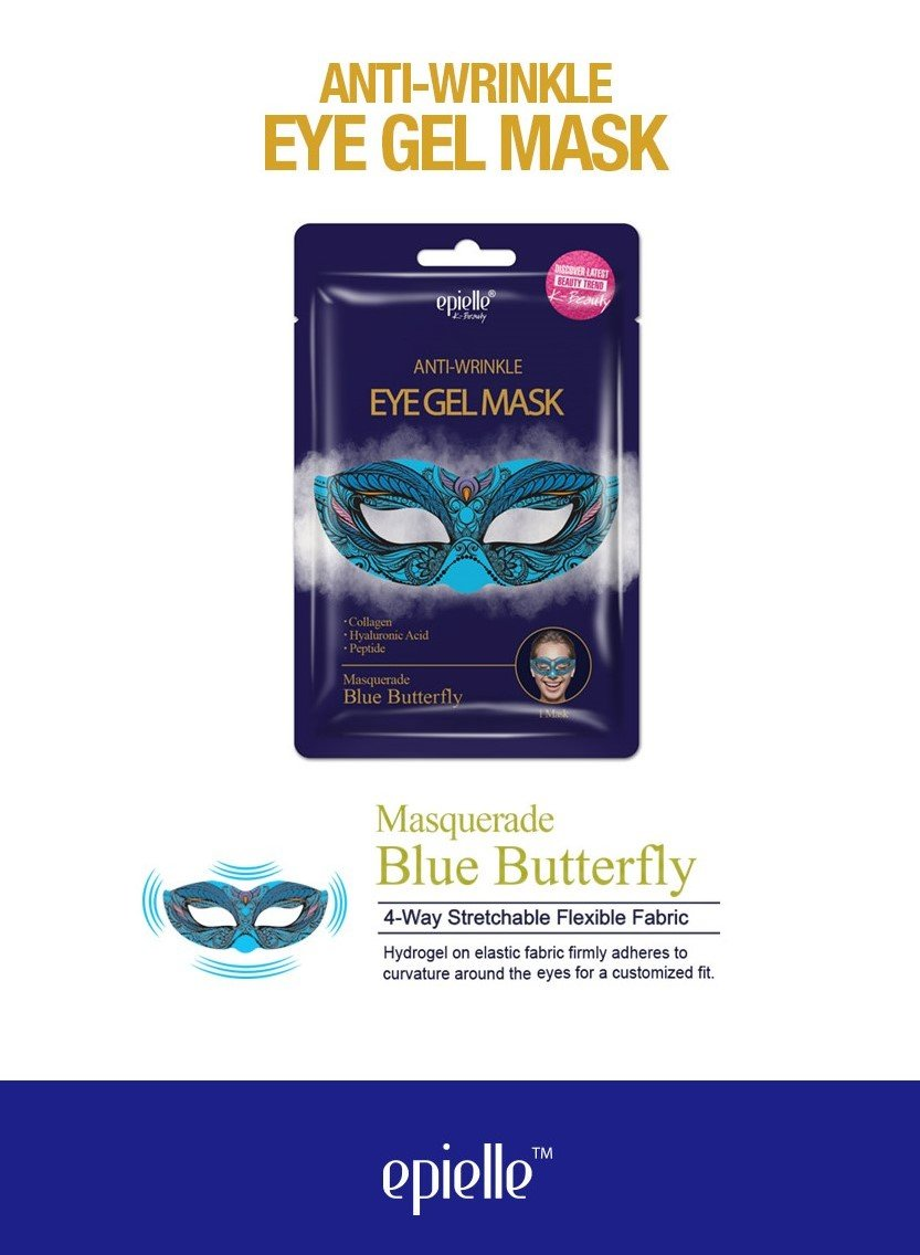 epielle Blue Butterfly Masquerade Eye Gel Mask, 1ct