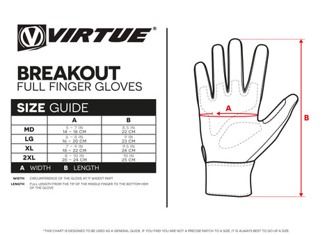 Size Guide Breakout Full Finger Gloves