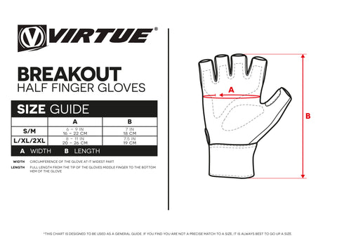 Size Guide Breakout Half Finger Gloves