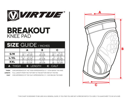 Size Guide Breakout Knee Pads