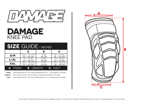Size Guide Damage Knee Pads