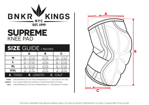 Size Guide Supreme Knee Pads