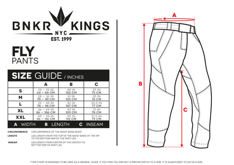 Size Guide Fly Pants