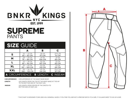 Size Guide Supreme Pants
