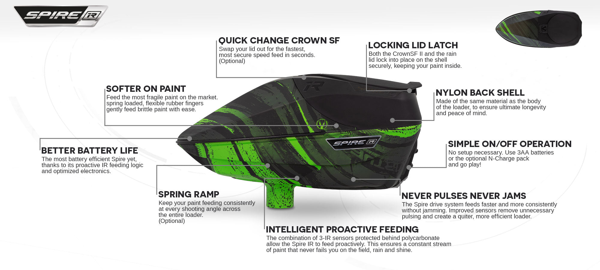 Virtue Spire IR Loader - Graphic Lime - Feature Call-Out