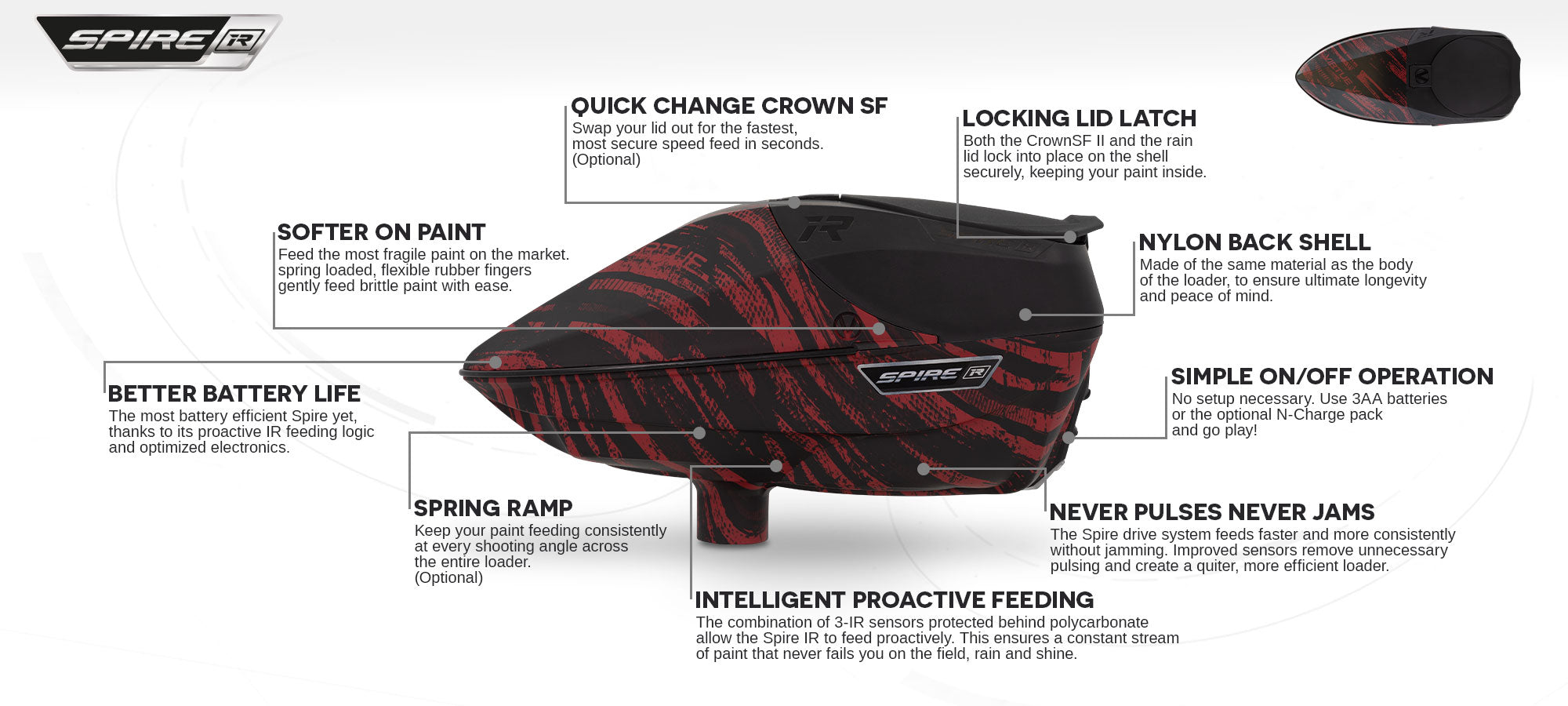 Virtue Spire IR Loader - Graphic Red - Feature Call-Out