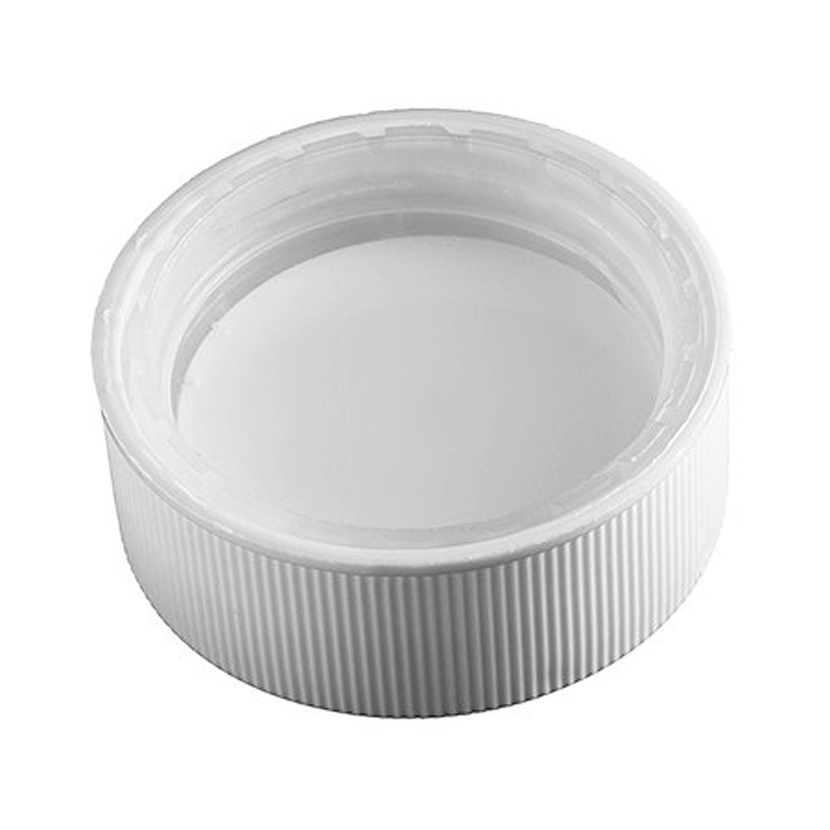 Child-Resistant Ribbed 38-400 Lid with Foam Liner White