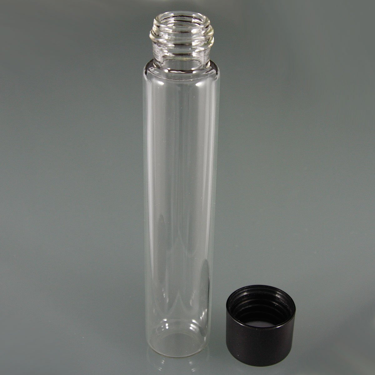 Glass Tube with Child-Resistant Black Lid 22mm x 116mm Clear / Black