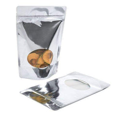 Stand Up Metalized Zipper Bag with Clear Oval Window (1 Ounce)