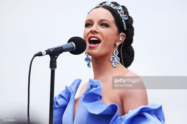 Sabrina Durante wears Stephanie Browne at the Melbourne Cup 2018