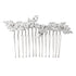 elegant bridal hair comb made with CZ diamond cut leaf shape stones