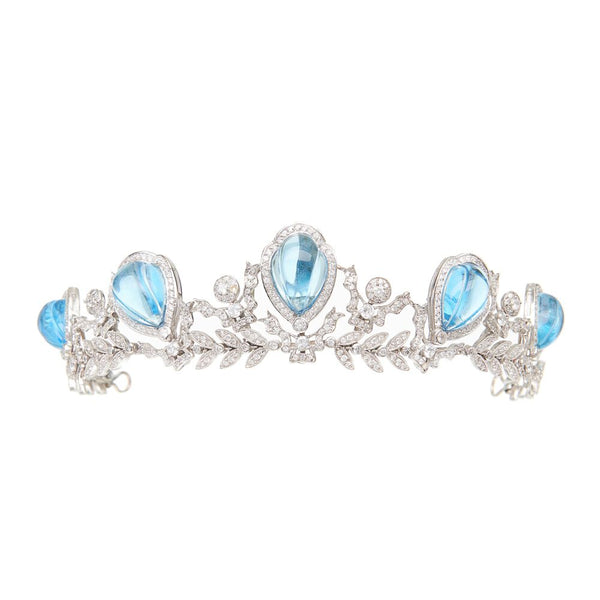 delicate bridal tiara in blue accents