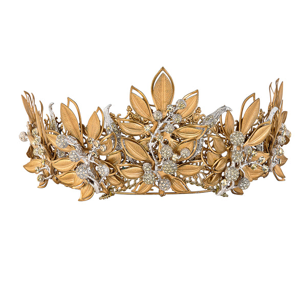 beautiful bridal crown designed with botanical influences
