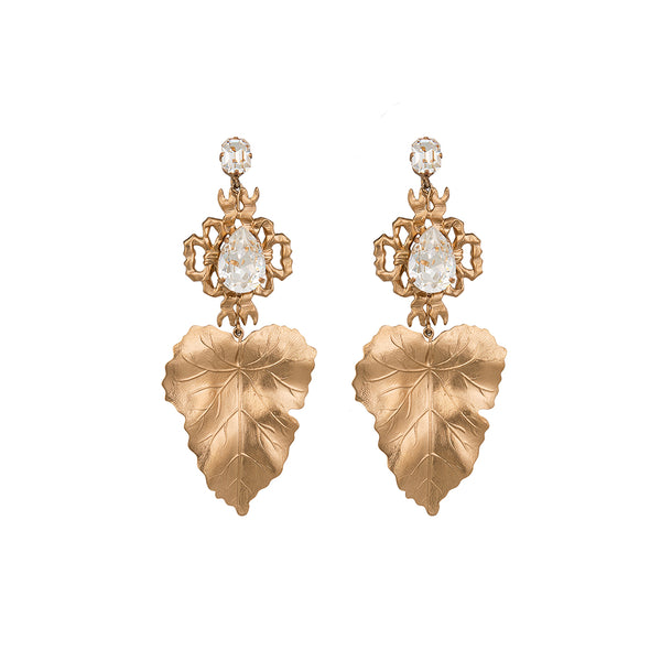 golden bridal chandelier earrings
