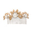bridal comb with golden leaves and pearl