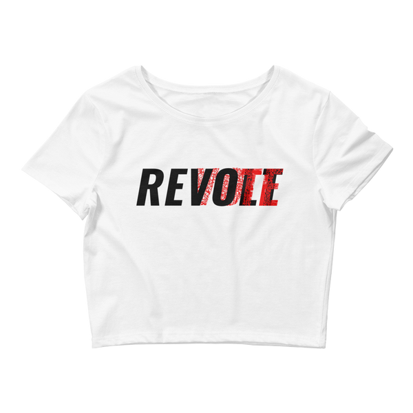 Revolt / Vote Women's Crop Top Tee (Black & Red)