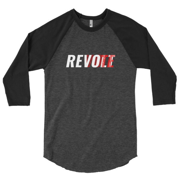 Revolt / Vote -Men's- Unisex - Baseball Tee (White & Red Print)