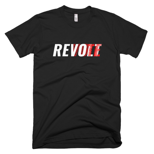 Revolt / Vote -Men's- Unisex - T-Shirt (White & Red Print)