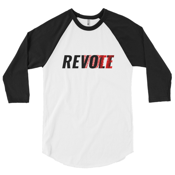 Revolt / Vote -Men's- Unisex -  Baseball Tee (Black & Red Print)