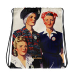 Women Fight Back Drawstring Bag