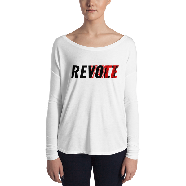 Revolt / Vote Women's Long Sleeve Tee (Black & Red)