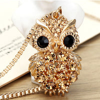 Retro Antique Alloy w/Rhinestone Crystal Owl Long Necklace - Women's - Youth