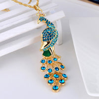 Fashion Gold Plated Peacock Pendant Necklace - Women's