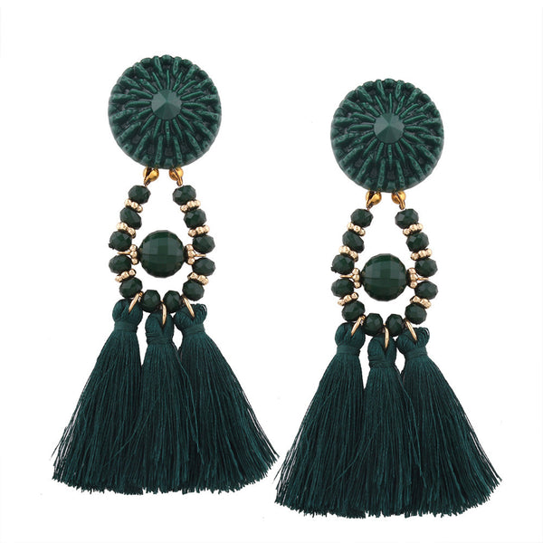 Bohemian Fashion Earrings with Long Tassel Fringe - Women's