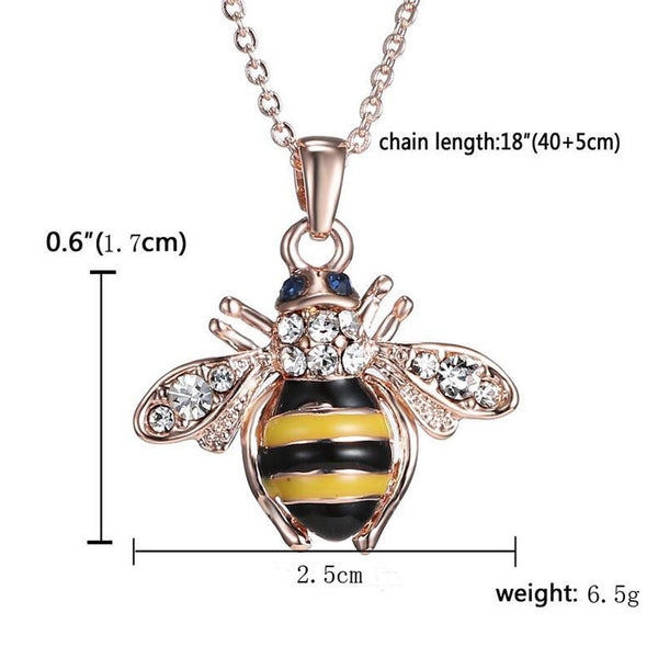 Crystal Bee Rose Necklace - Women's
