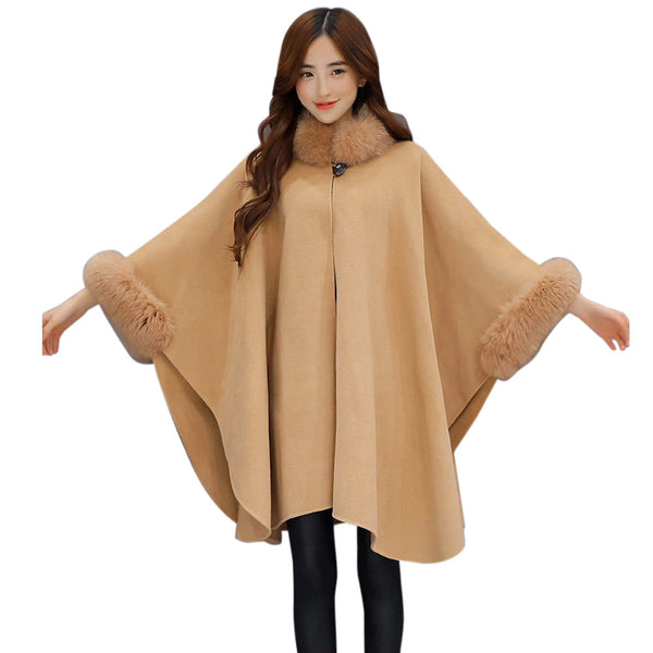 Stunning Woollen Fur Collar Parka Cardigan Cloak Coat - Women's