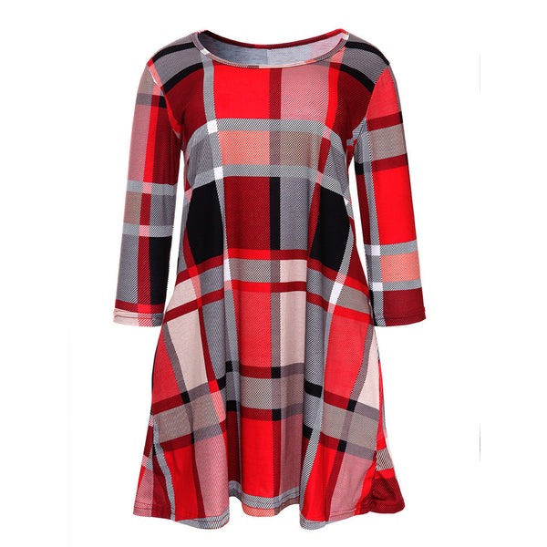 Plaid Print, Scoop Neck Casual Swing Tunic Mini Dress With Pockets - Women's