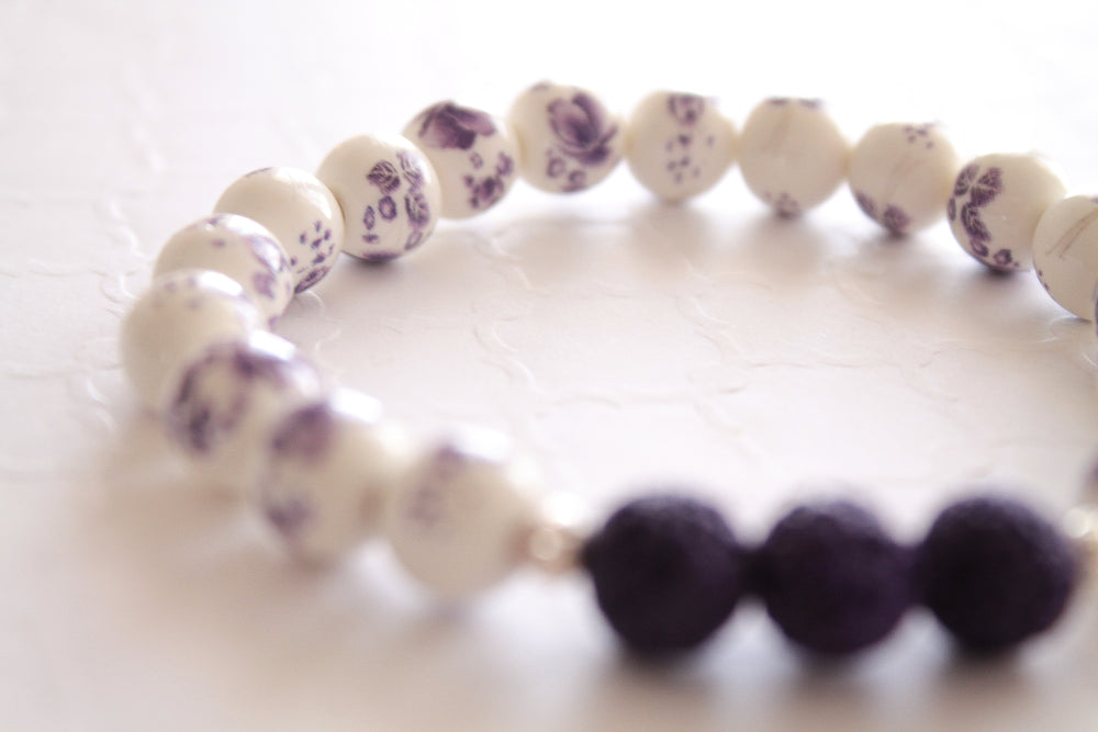 Pretty Purple Floral Lava Bead Bracelet