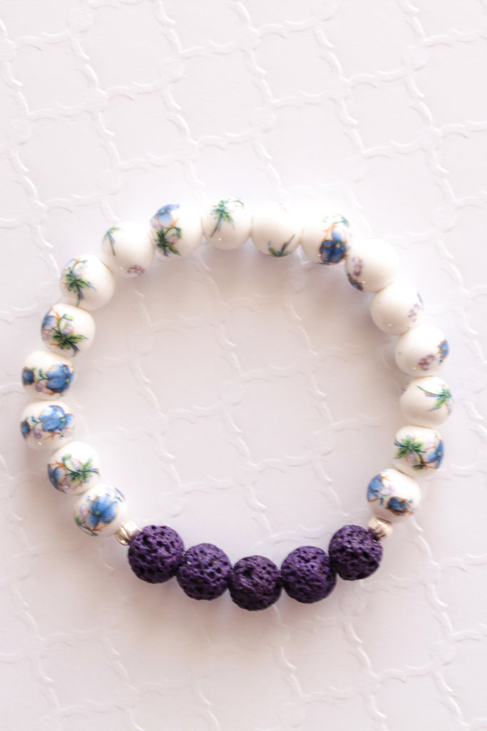 Blue Lotus Flower Lava Bead Bracelet