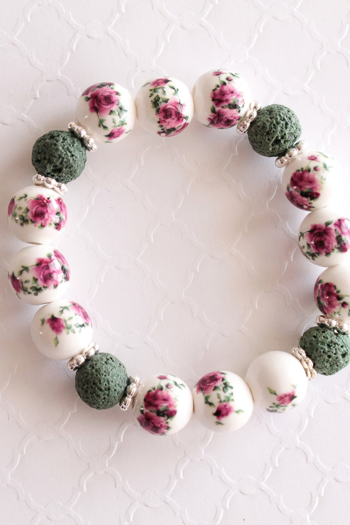 Not Your Grandma's Florals Lava Bead Bracelet