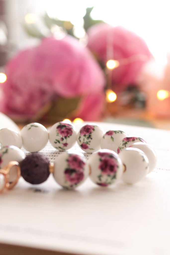 Roses and Peals Lava Bead Bracelet