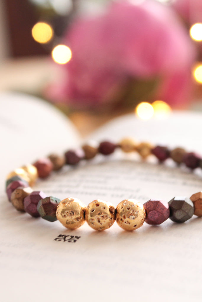 Fire and Gold Lava Bead Bracelet