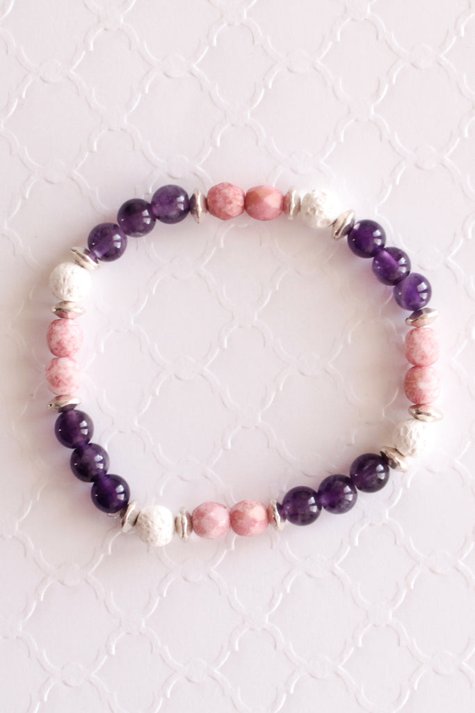 Pink and Purple Lava Bead Bracelet