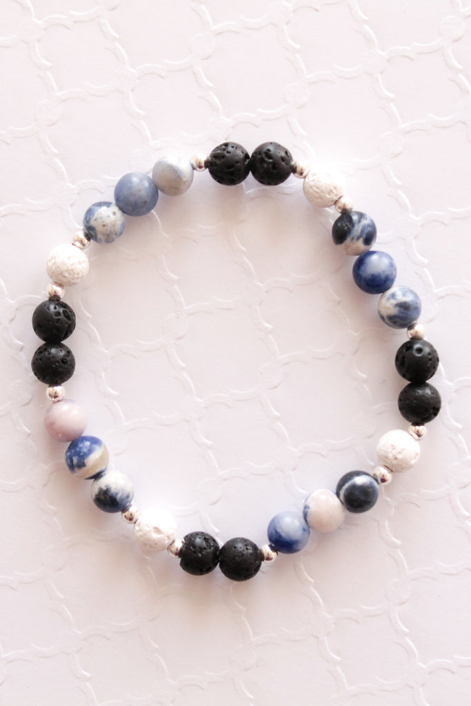 Black, Blue and White Lava Bead Bracelet
