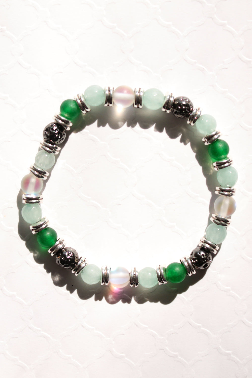 Green Screens and Silver Dreams Lava Bead Bracelet