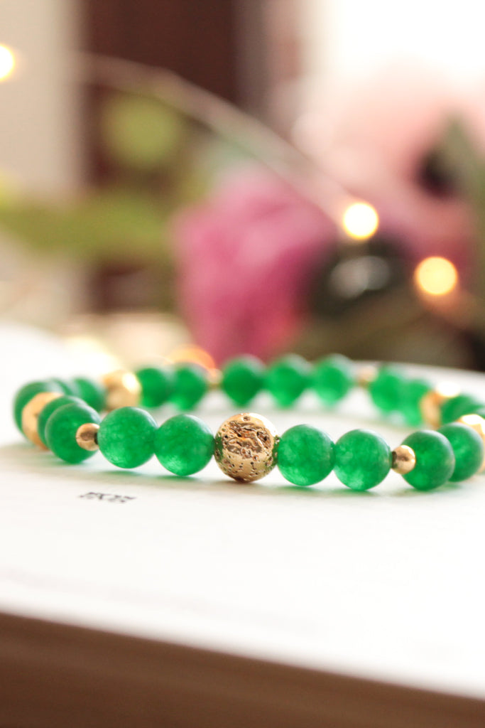 Green and Gold Lava Bead Bracelet