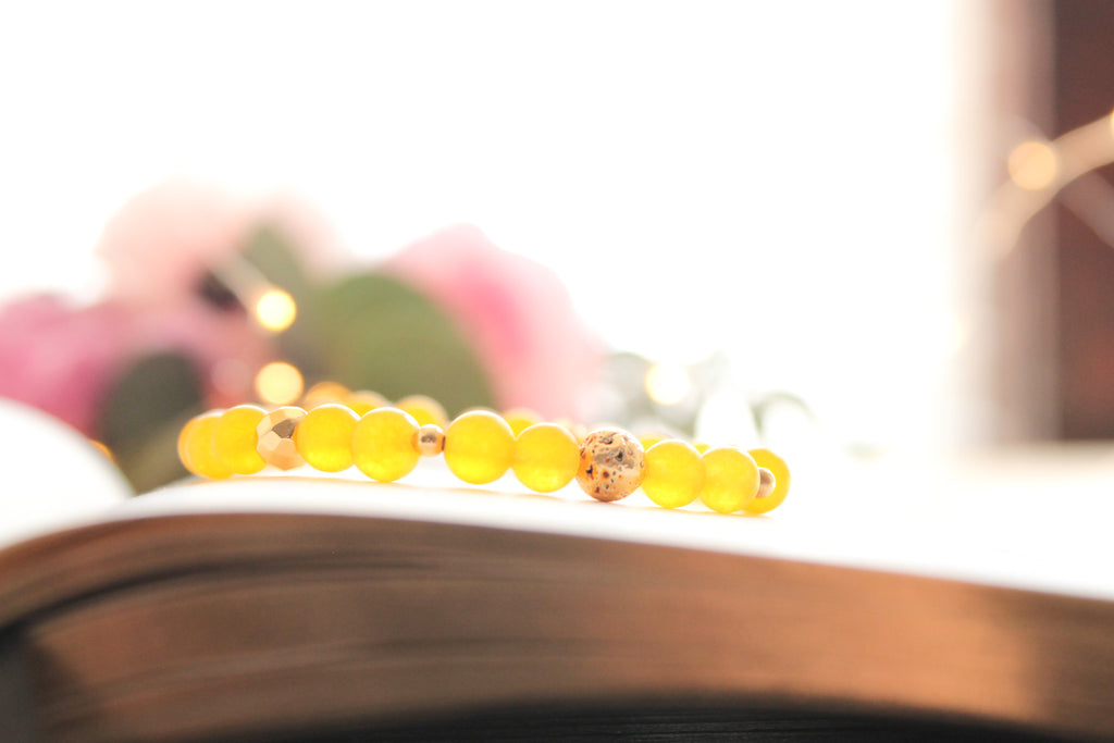 Yellow and Gold Lava Bead Bracelet