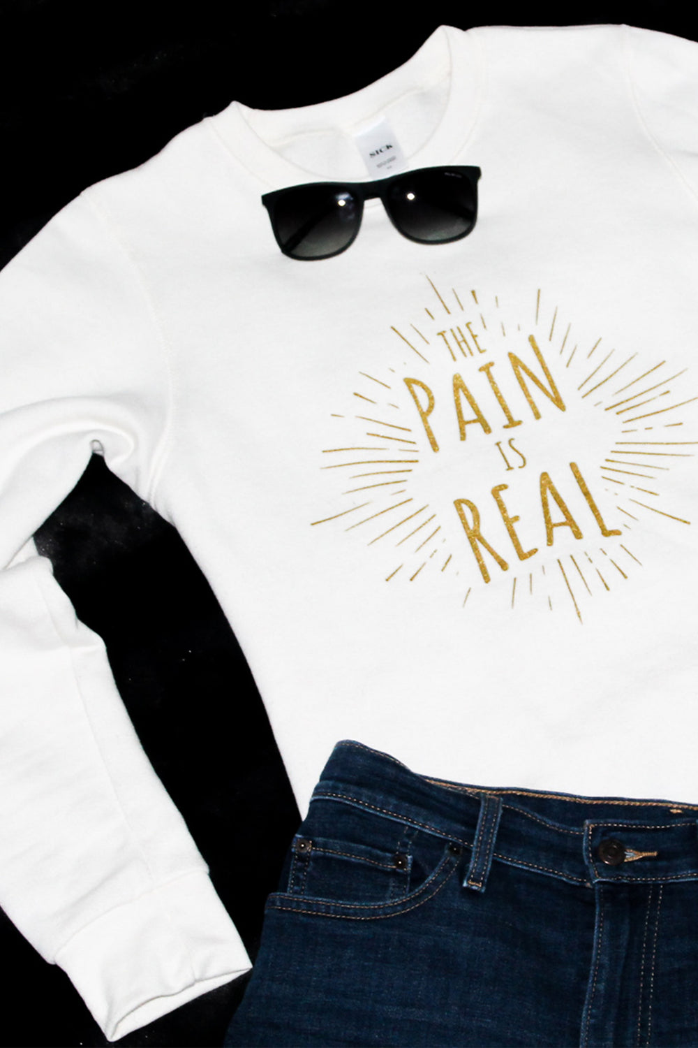 The Pain is Real crewneck sweatshirt. Chronic illness clothing. Fibromyalgia, chronic fatigue syndrome. Pretty Sick Designs.