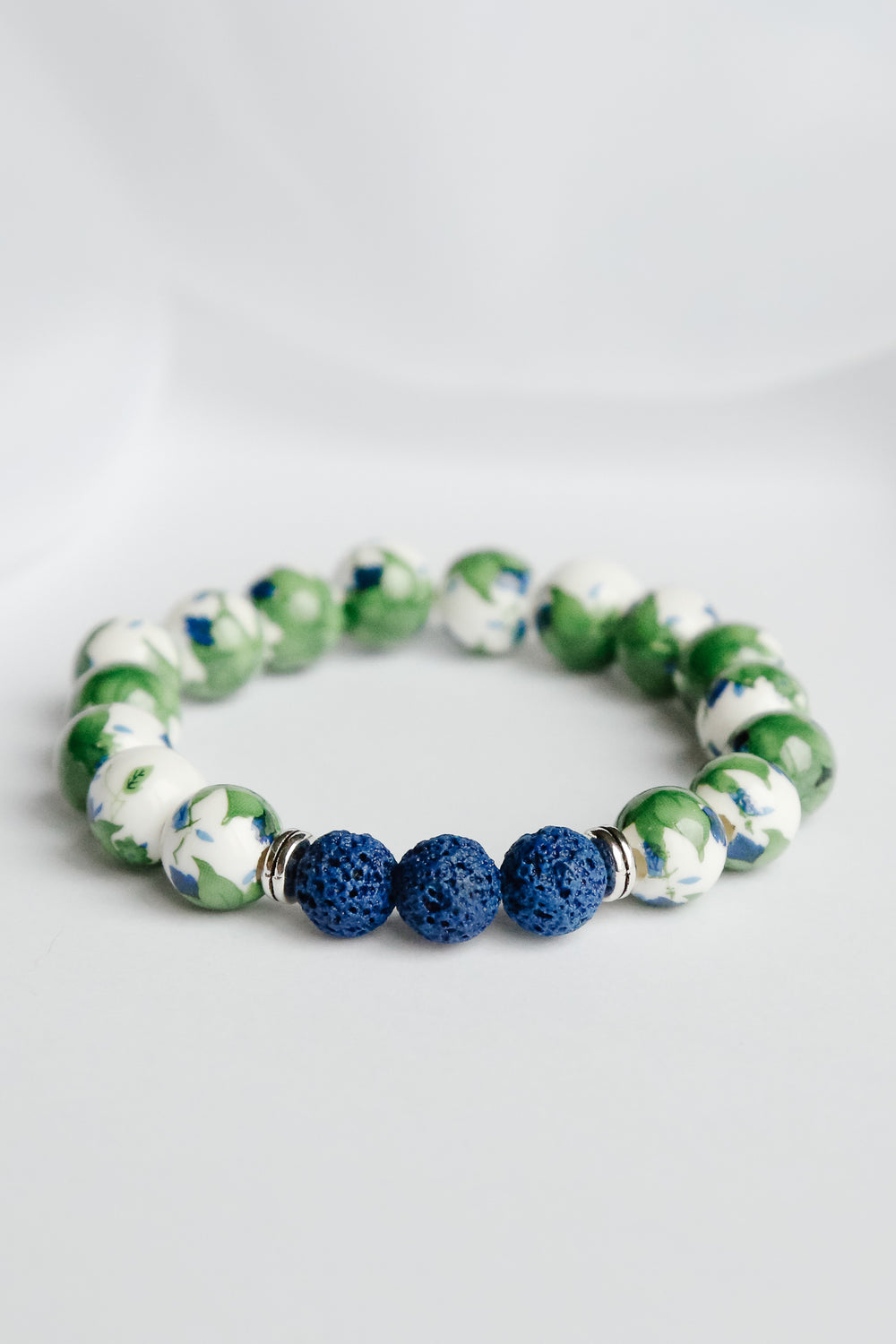 Green Sleeves and Leaves Lava Bead Bracelet