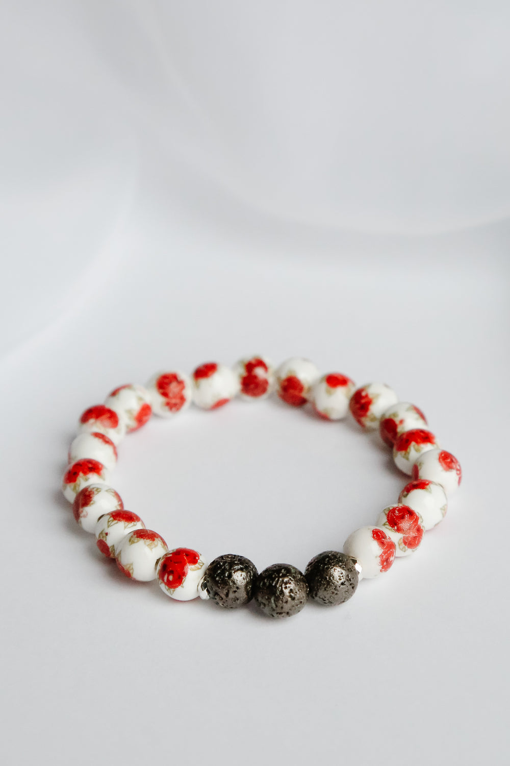 Roses are Red Lava Bead Bracelet