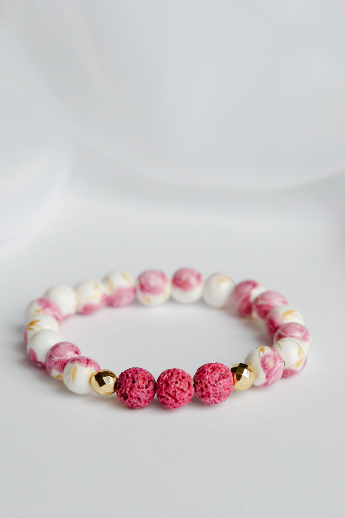 Pretty in Pink Floral Lava Bead Bracelet