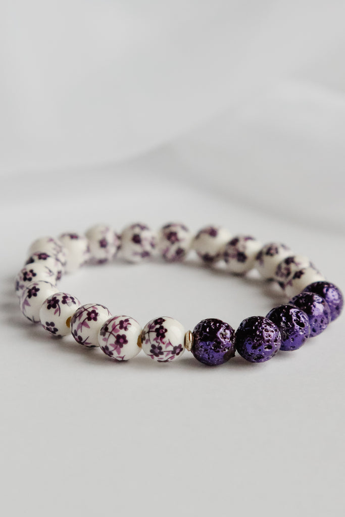 Purple Delight Lava Bead Bracelet