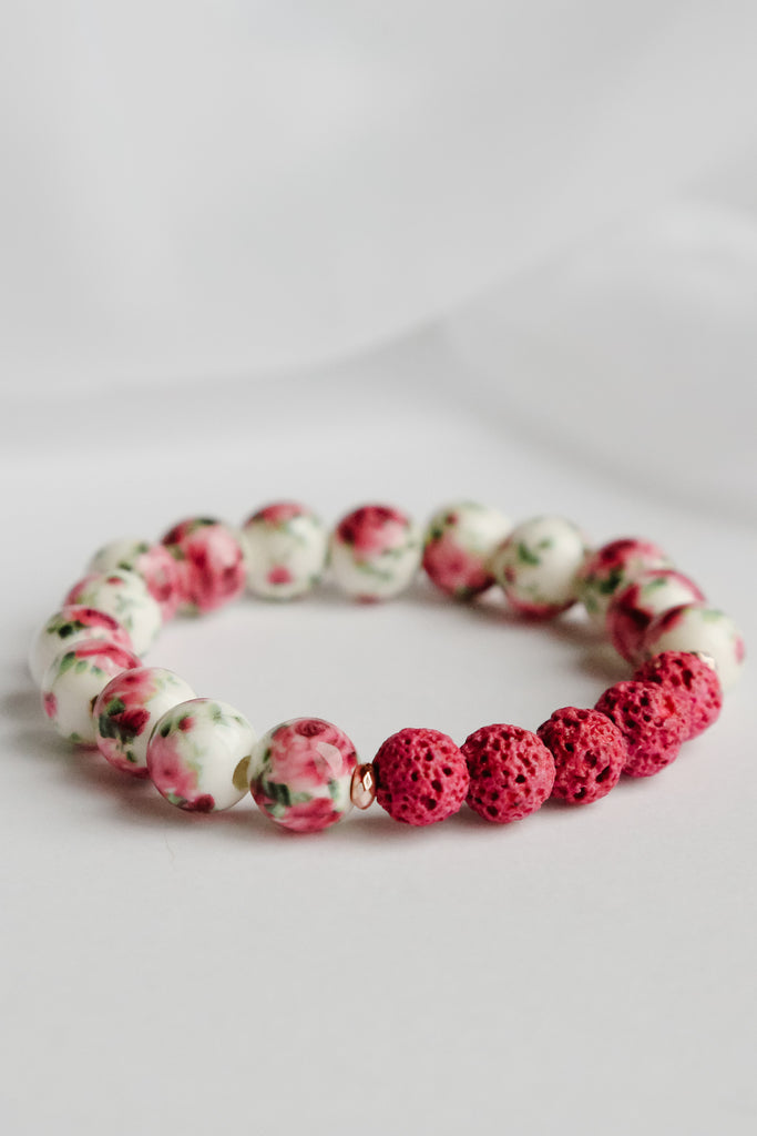 Tickled Pink Lava Bead Bracelet
